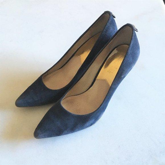 Michael Kors Navy blue suede high heel pump shoe